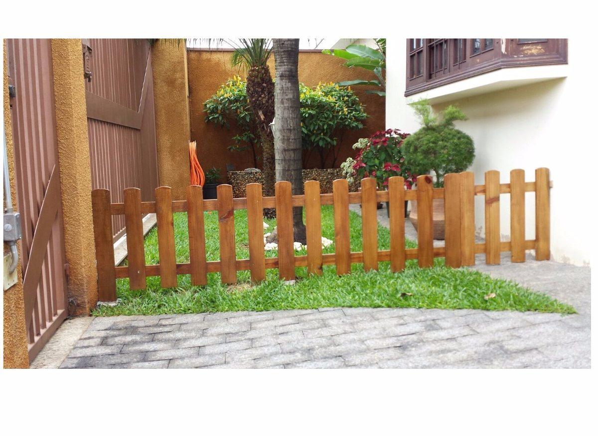 Cerca de madeira pintada pre o metro linear 60cm altura for Cercados jardin