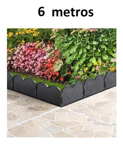 cerca decorativa para jardín color negro plástico 6 metros