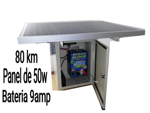 cerca electrica solar intemperie 80km panel 50w impulsor 600