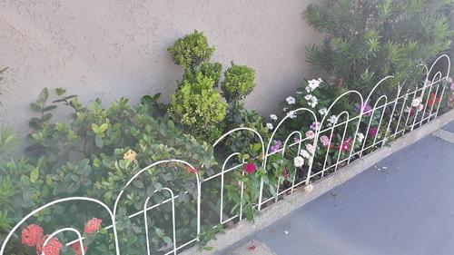 cerca grade de proteção p/ jardim - cor branco kit 3 c/