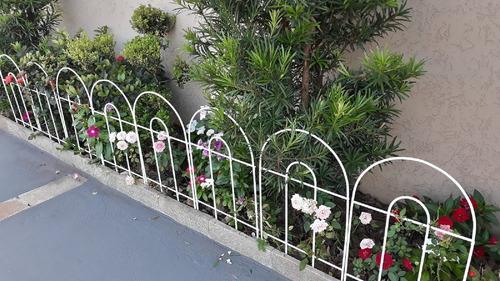 cerca grade de proteção p/ jardim - cor branco kit c/ 12