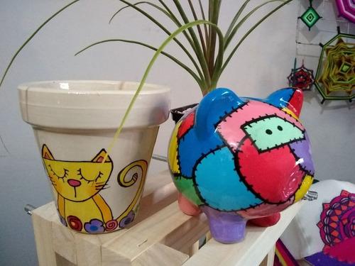 cerditos  de ceramica decorados - alcancia puerquito