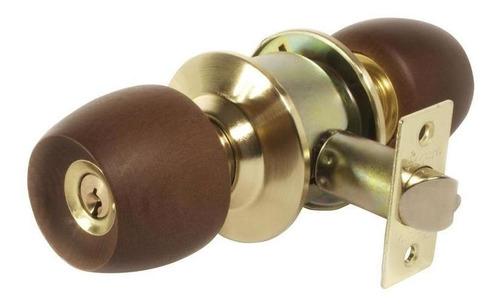 cerradura baño de pomo madera oscura escudo dorado seguro re