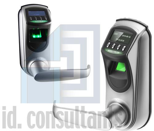 cerradura biometrica para oficina o casas, metal plateada