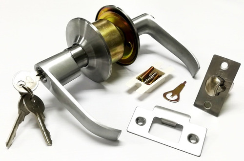 cerradura cilindrica para alcoba con manija metalica de vera