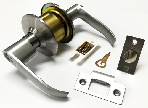 cerradura cilindrica para baño con manija metalica de  vera