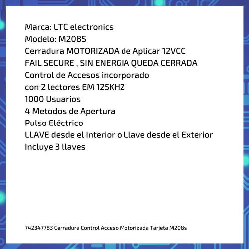 cerradura control acceso motorizada tarjeta  m208s