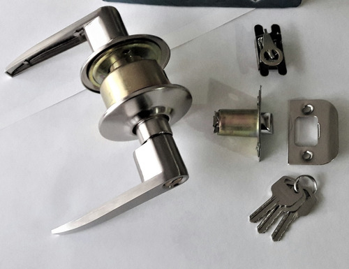 cerradura de manilla lisa p/ puertas 3 llaves acabado acero