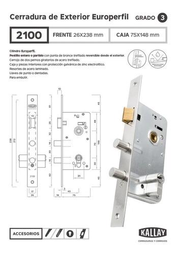 cerradura kallay 2100 cilind. euro yale -llave extra gratis!