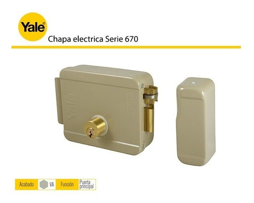cerradura yale electromagnética con 3 llaves ref: 670