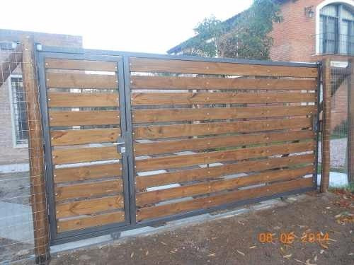 Cerramiento y portones corredizo en hierro y madera 1 - Portones de madera para exterior ...