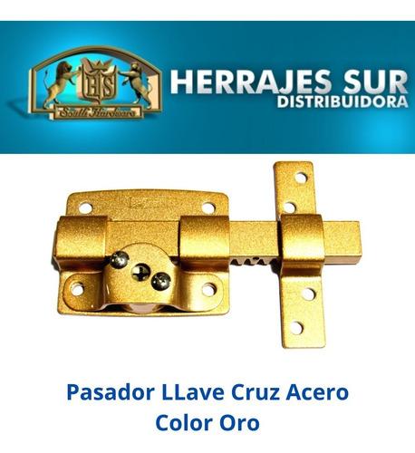 cerrojo pasador llave cruz premium puerta oro reforzado
