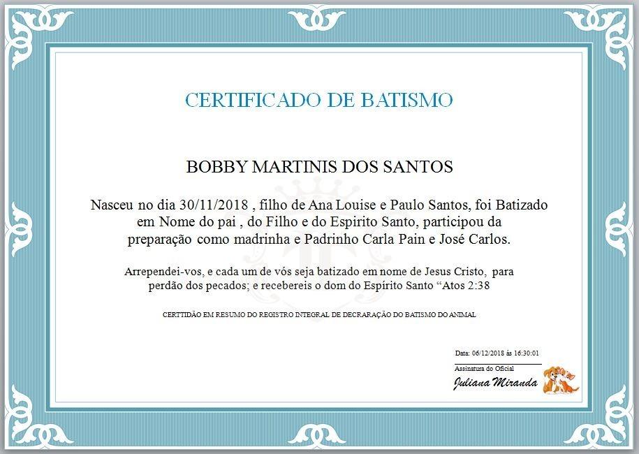 Certid O De Batismo Animal Envio Imediato R 1 00 Em Mercado Livre