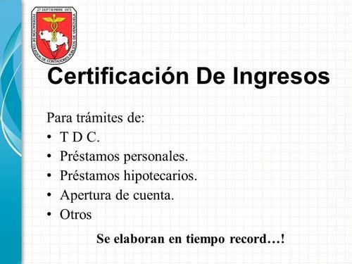 certificación de ingresos y balance personal