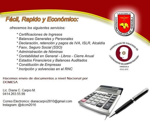 certificacion de ingresos y balances general