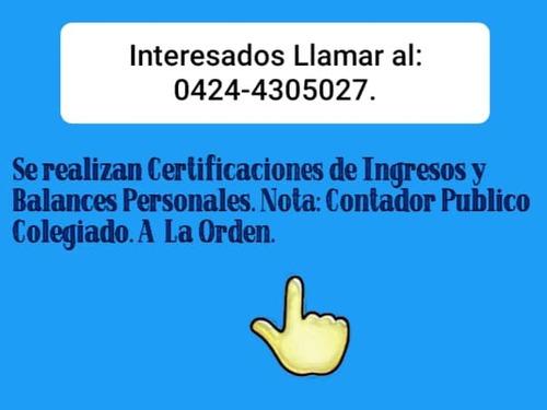certificaciones de ingresos y balances personales