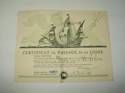 certificado cruce linea ecuador año 1937 barco formose