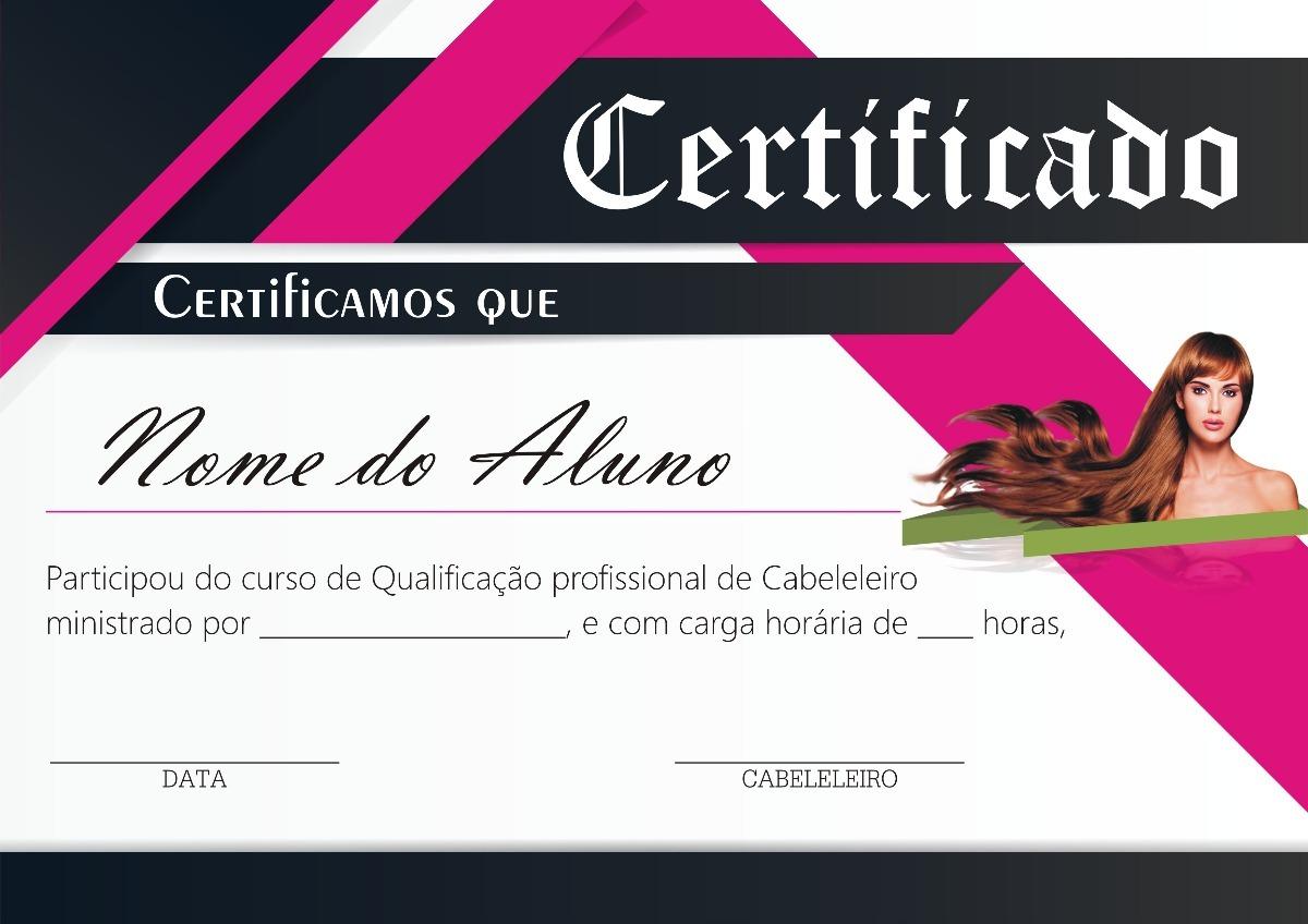 Certificado Curso De Cabeleireiro - Modelo 01 - R$ 20,00