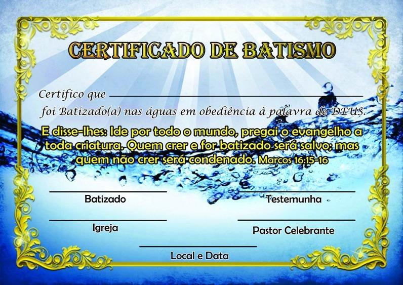 Certificado De Batismo Pacote Com 100 R 120 00 Em Mercado Livre