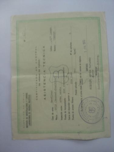 certificado de control de armas de fuego. documento antiguo.
