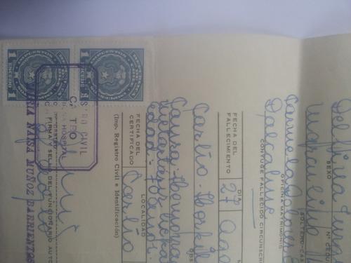 certificado de defunción.documento antiguo. 1971.