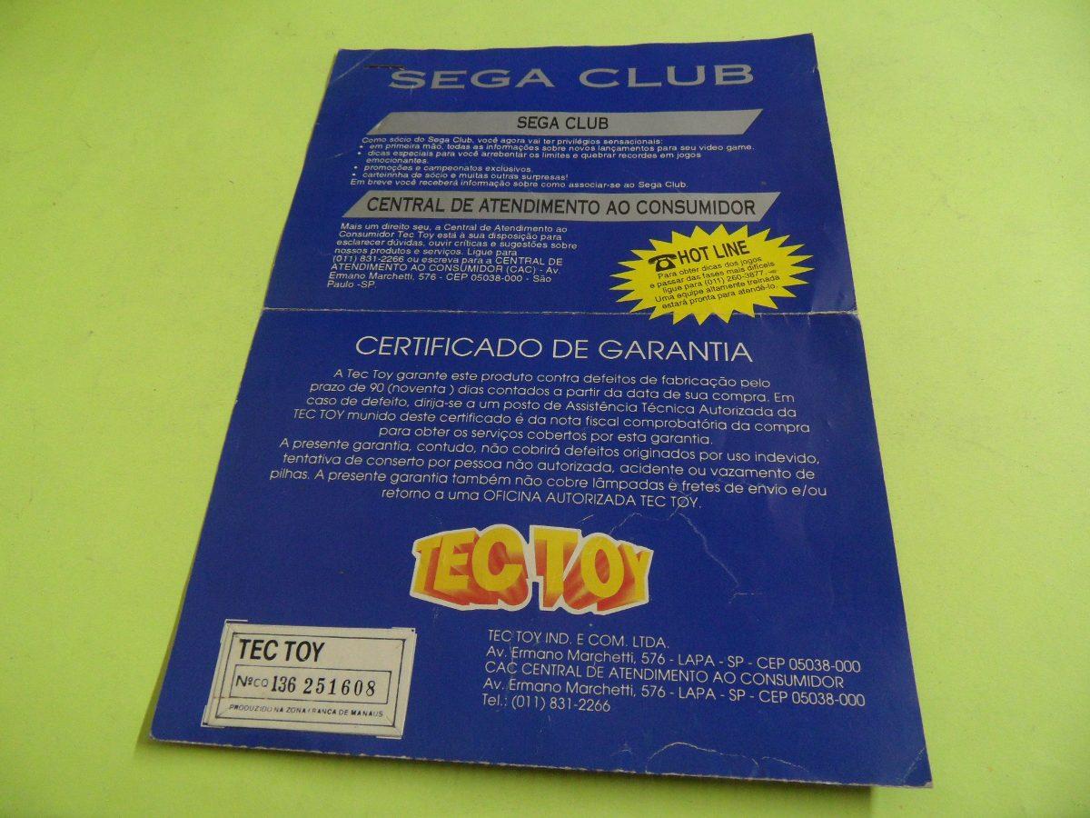 Certificado De Garantia Original Sega Club Tectoy - R  25 557fe250c1946