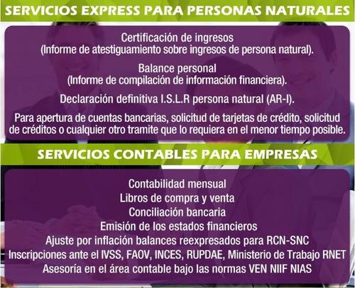 certificado de ingresos balance personal snc contabilidad