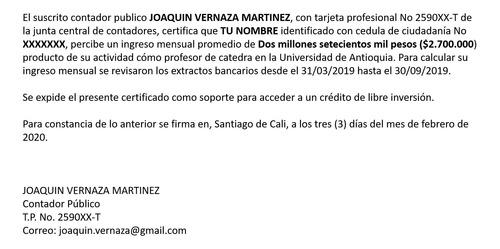 certificado de ingresos por contador público