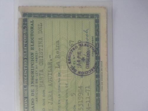 certificado de inscripción electoral. documento antiguo.1971