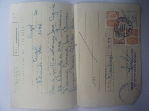 certificado de nacimiento. documento antiguo.1976.