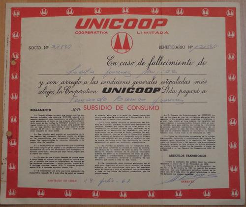 certificado de subsidio de consumo cooperativa unicoop