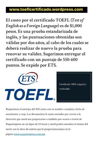 certificado delf b2 original sin examen toefl ibt itp