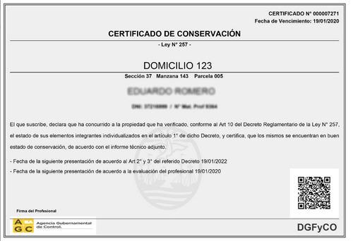 certificado ley 257 - garantizamos el menor costo