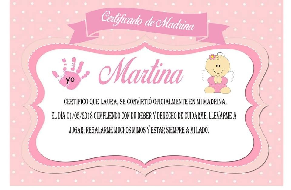 Certificado Madrina / Padrino Personalizado Para Imprimir - $ 120,00 ...