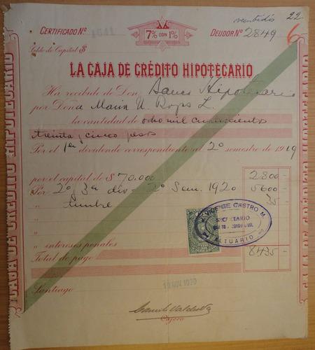 certificado obligación caja de crédito hipotecario stgo 1920
