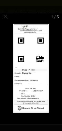 certificado qr fumigación gcba alacranes escorpiones pulgas