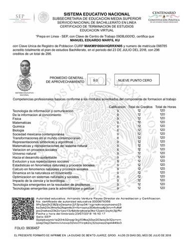 certificados con validez oficial ante la sep