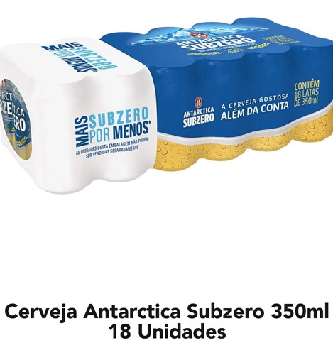 cerveja antártica sub zero 350 ml 18 unidades