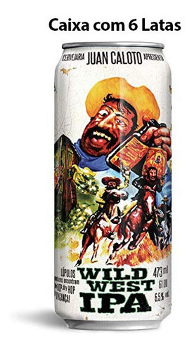 cerveja juan caloto wild west caixa c/ 6 latas 473 ml