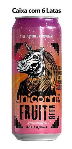 cerveja unicorn fruit beer caixa c/ 6 latas 473 ml