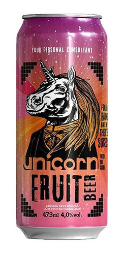 cerveja unicorn fruit beer caixa c/ 6 latas 473 ml