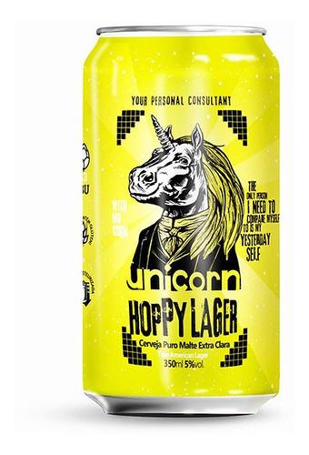 cerveja unicorn hoppy lager lata 350 ml