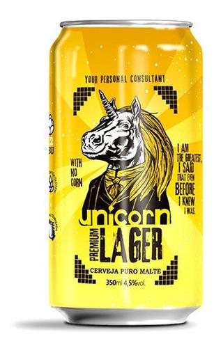 cerveja unicorn premium lager caixa c/ 6 latas 350 ml
