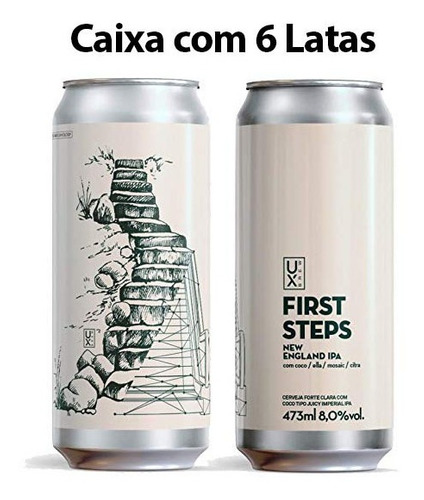 cerveja ux brew first steps caixa c/ 6 latas 473 ml