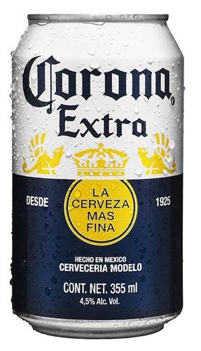cerveza clara corona extra, 24 latas de 355ml c/u