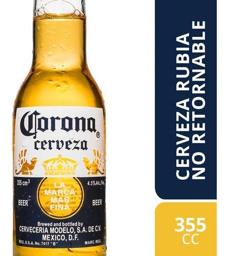 cerveza corona porron 355 cc por unidad botella vidrio 355cc