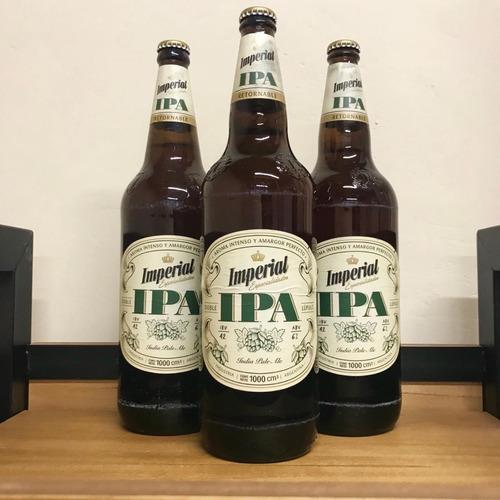 cerveza imperial ipa 1 litro - retornable - cajón x12