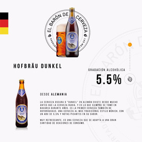 Cerveza Importada Hofbräu Dunkel X 500ml - Alemana