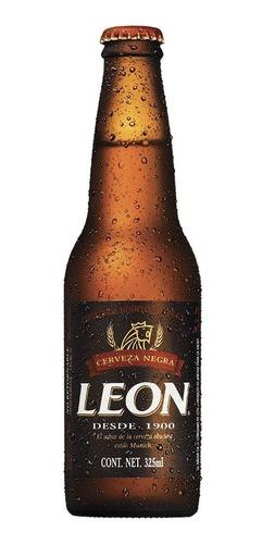 cerveza obscura león, 12 botellas de 325ml c/u