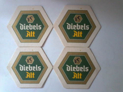 cerveza posavasos carton duro hexagonal  diebels alt ,4x160